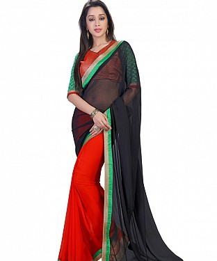 Black Georgette Self Designed Saree @ Rs852.00