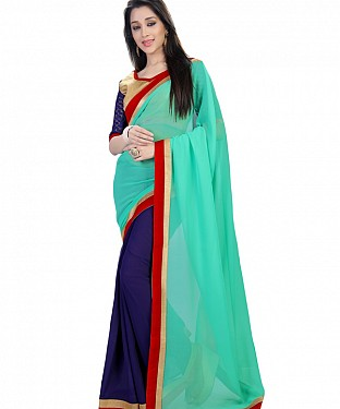Navy Blue Georgette Self Designed Saree @ Rs864.00