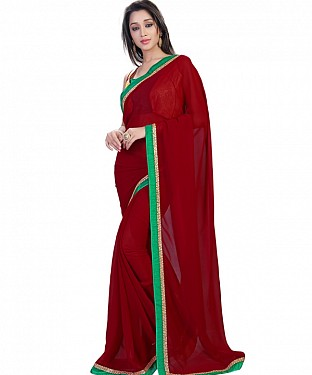 Maroon Georgette Self Designed Saree @ Rs864.00