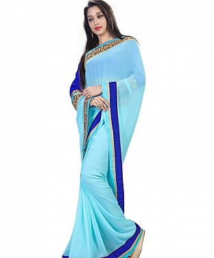Self Designed Sky Blue Georgette Embroidery Border Work Saree @ Rs1050.00