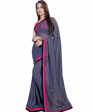 Grey Georgette Self Designed Saree @ Rs852.00