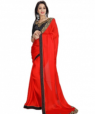Red Satin Georgette Self Designed Saree @ Rs1112.00