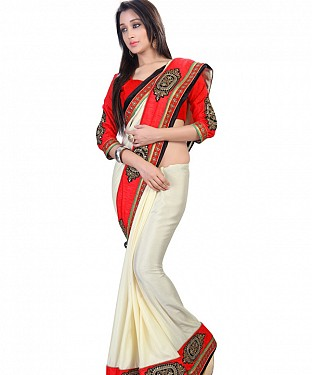 Cream Satin Chiffon Embroidered Patch Work Border Saree@ Rs.1421.00