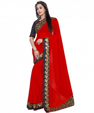 Red Georgette Heavy Embroidered Border Self Designed Saree @ Rs1606.00