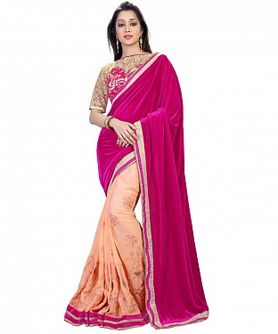 Self Designed Pink Velvet Embroidered Saree @ Rs1421.00