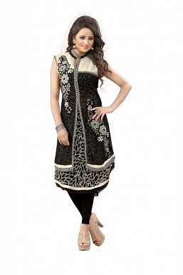 Panchi Black Georgette Embroidered Stitched Kurti@ Rs.816.00