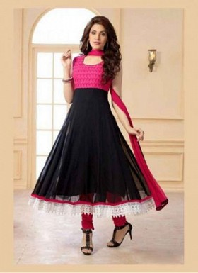Designer Black And Pink Anarkali Suit@ Rs.1051.00