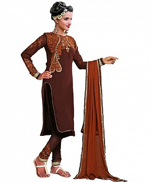 Designer Brown Salwar Suit@ Rs.1235.00