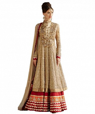 Net Heavy Embroidered Floor Touch Golden Anarkali Suit @ Rs1853.00