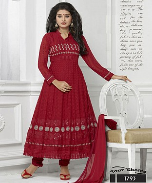Buy Exclusive Chiffon Maroon Dress Material @ Rs1173.00