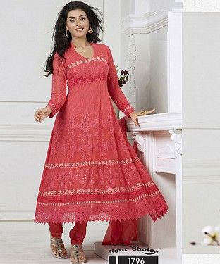 New Fancy Buy Exclusive Chiffon Pink Dress @ Rs1173.00