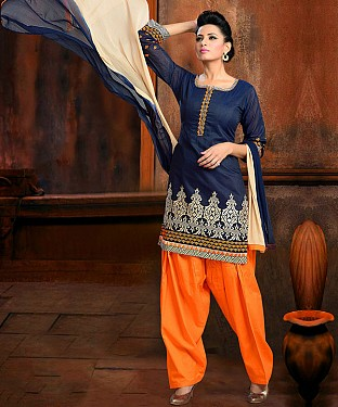 New Blue& Orange Colour Designer Cotton Patiyala Suit @ Rs1112.00