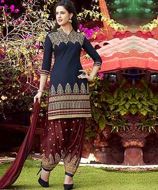 New Latest Blue Colour Designer Cotton Patiyala Suit@ Rs.1112.00
