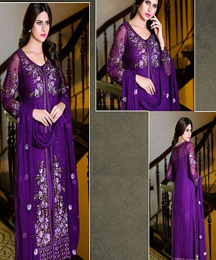 New Purple Colour Pakistani Long Dress Material @ Rs1359.00