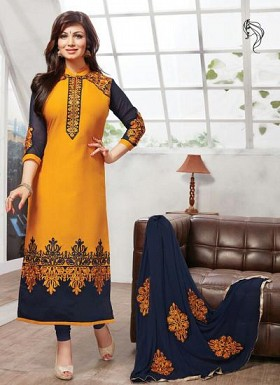 New Latest Heavy Embroidered Yellow&Blue Colour Semi Stitched Salwar Suit @ Rs1175.00