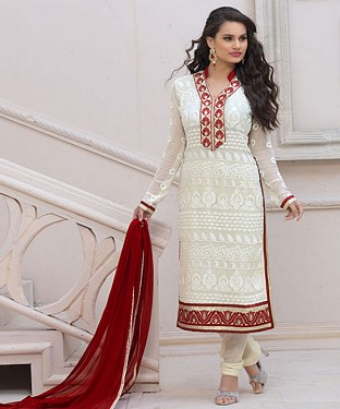 Designer White Chiffon Dress Material Buy Rs.926.00