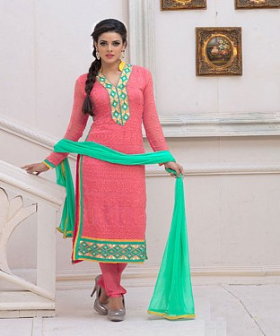 Designer Pink Chiffon Dress Material @ Rs926.00
