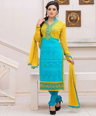 Designer Yellow And Sky Chiffon Dress Material @ Rs926.00