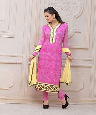 Faabboom Designer Pink Chiffon Dress Material@ Rs.926.00