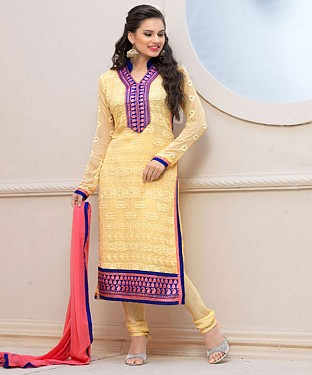 Designer Yellow Chiffon Dress Material @ Rs926.00