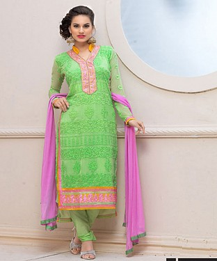 Designer Green And Pink Chiffon Dress Material @ Rs926.00