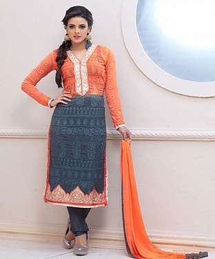 Designer Orange And Gray Chiffon Dress Material Buy Rs.926.00