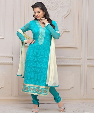 Designer Sky Blue Chiffon Dress Material @ Rs926.00