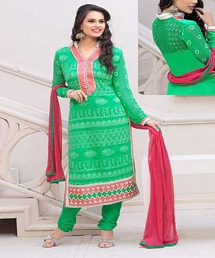 Designer Green Chiffon Dress Material@ Rs.926.00
