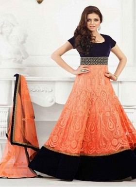 Embroidery Orange And Black Georgette Long Anarkali Suit@ Rs.1236.00