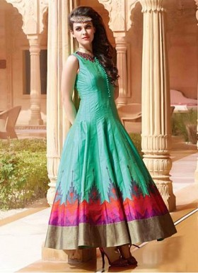 New Lime Green Long Printed Ready Made Designer Gown@ Rs.1719.00