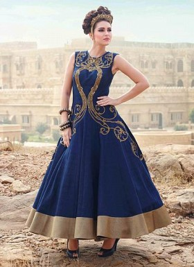 New Royal Blue Long Embrodered Ready Made Designer Gown@ Rs.1719.00