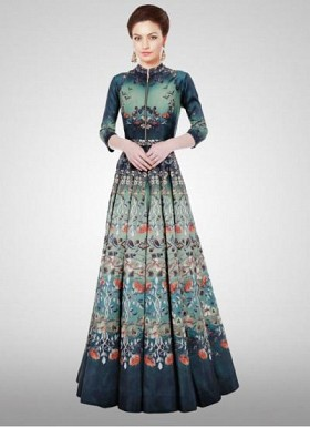 Designer New Turquoise Long Printed Semi Stitched Gown@ Rs.1966.00