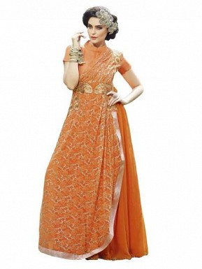 New Fancy Gown Orange Colour @ Rs1606.00