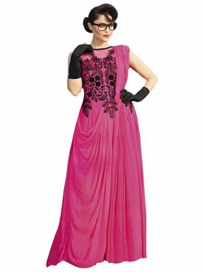 Pink Designer Embroidered Gown@ Rs.1606.00