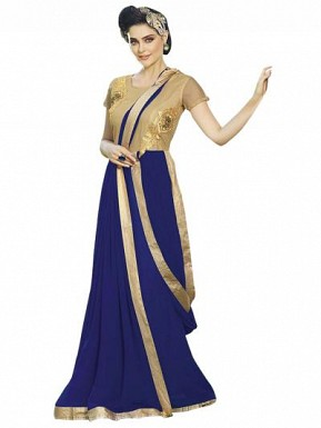 New Blue Designer Embroidered Gown @ Rs1606.00