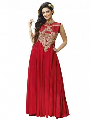 New Red Designer Embroidered Gown @ Rs1606.00