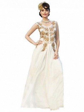 Amazing White Designer Embroidered Gown @ Rs1606.00