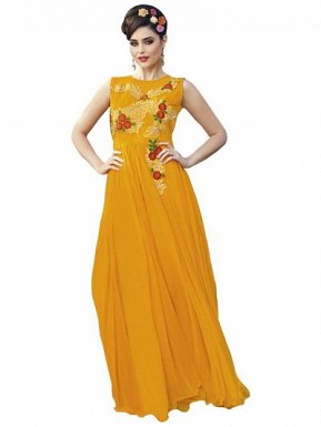 New Yellow Designer Embroidered Gown Buy Rs.1606.00