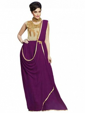 New Fabulous Purple And Cream Embroidered Gown @ Rs1606.00
