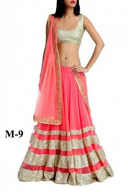 Marvellous Peach Net Lehenga Choli @ Rs864.00