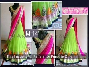New Parrot Green & Pink Georgette Lehenga Choli @ Rs2471.00