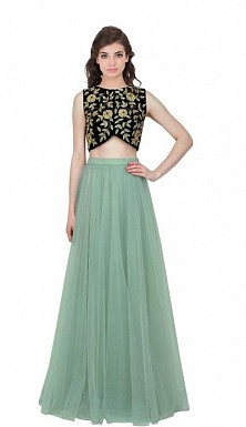 Latest Beautiful Net Designer Semi Stitched Lahenga Choli @ Rs1235.00