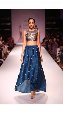Latest Blue & Brown Beautiful Designer Lahenga Choli @ Rs988.00