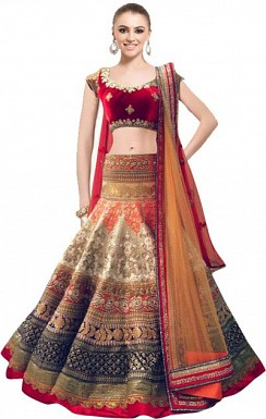 Latest Red And Off Whites Beautiful Designer Lahenga Choli@ Rs.2224.00