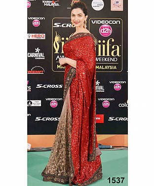 Fancy Stylist Dipika Padukon Red Saree@ Rs.1853.00