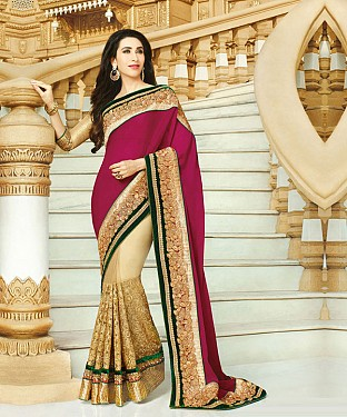 Pink And Cream Karishma Heavy Saree Buy Online @ Rs1853.00