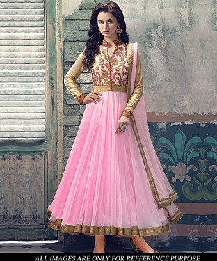 Designer Pink Long Anarkali Suit @ Rs1235.00