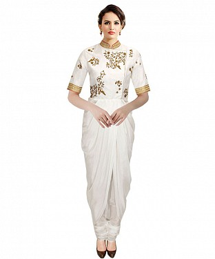 New Chudidar White Colour Georgette Kurti @ Rs1112.00