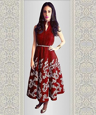 New Maroon Embroidered Designer Anarkali Kurti @ Rs1173.00
