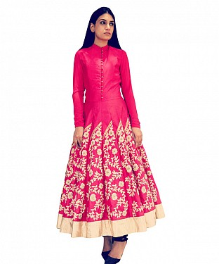 New Latest Pink Colour Embroidered Designer Kurti@ Rs.1173.00